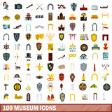 100 museum icons set, flat style. 100 museum icons set in flat style for any design vector illustration Stock Images