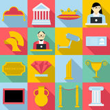 Museum icons set, flat style. Museum icons set. Flat illustration of 16 museum vector icons for web stock illustration