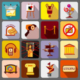 Museum icons set, flat style Royalty Free Stock Photography