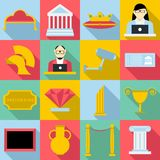 Museum icons set, flat style. Museum icons set. Flat illustration of 16 museum icons for web Royalty Free Illustration
