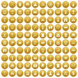 100 museum icons set gold. 100 museum icons set in gold circle isolated on white vectr illustration Royalty Free Stock Photography