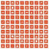 100 museum icons set grunge orange. 100 museum icons set in grunge style orange color isolated on white background vector illustration Stock Photo