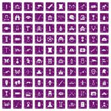 100 museum icons set grunge purple. 100 museum icons set in grunge style purple color isolated on white background vector illustration vector illustration