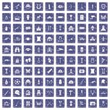 100 museum icons set grunge sapphire. 100 museum icons set in grunge style sapphire color isolated on white background vector illustration Stock Photos