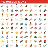 100 museum icons set, isometric 3d style Royalty Free Stock Image