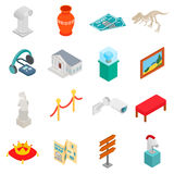 Museum icons set. In isometric 3d style on white background Royalty Free Stock Photography