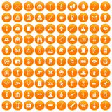 100 museum icons set orange. 100 museum icons set in orange circle isolated vector illustration Stock Photos