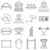 Museum icons set, outline style Stock Image