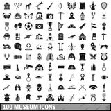 100 museum icons set, simple style. 100 museum icons set in simple style for any design vector illustration Royalty Free Stock Photo