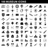 100 museum icons set, simple style Royalty Free Stock Photography