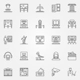 Museum icons set. Vector linear fine art objects symbols. Thin line museum and exhibition signs collection Royalty Free Stock Image