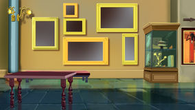 Museum interior. Image 02. Digital painting of the Museum interior. With exhibits, stands and picture frames Stock Photography