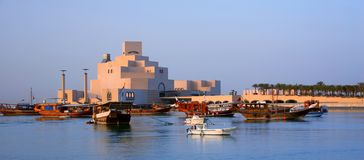 Museum of Islamic Art in Doha. The museum houses a collection of works gathered since the late 1980s, including manuscripts, textiles and ceramics. It is one of royalty free stock photo