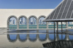 Museum Of Islamic Art, Doha, Qatar. The Museum Of Islamic Art, Doha with reflection and Doha Skyline through the arches Royalty Free Stock Photography