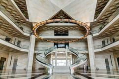 Museum of Islamic Art, Doha Qatar. JULY 2017. View of the main hall stairs. The Museum is Doha`s most prized architectural icon, designed by the world famous Royalty Free Stock Image