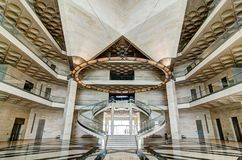 Museum of Islamic Art, Doha Qatar. July 2017. View of the main hall stairs. The Museum is Doha`s most prized architectural icon, designed by the world famous Royalty Free Stock Photo