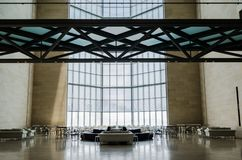 Museum of Islamic Art, Doha Qatar. JULY 2017. Restaurant, bar and main window. The Museum is Doha`s most prized architectural icon, designed by the world Royalty Free Stock Image