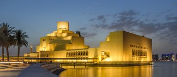 Museum of Islamic Art, Doha, Qatar at night Stock Images