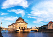 Museum island in Berlin on river Spree with clouds Royalty Free Stock Images