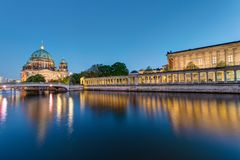 Museum Island and cathedral in Berlin. At dusk stock images