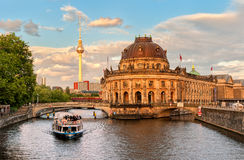 Museum island on Spree river and Alexanderplatz TV tower in cent Royalty Free Stock Photography