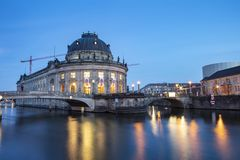 Museum island on Spree river and Alexanderplatz TV tower in center of Berlin, Germany.  stock photo
