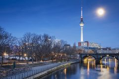 Museum island on Spree river and Alexanderplatz TV tower in center of Berlin, Germany.  royalty free stock photography