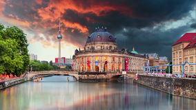 Museum island on Spree river and Alexanderplatz TV tower in center of Berlin, Germany stock video