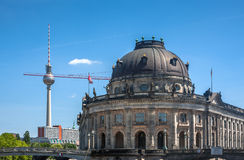Museum Island on Spree river, Bode museum and Tv Tower view Royalty Free Stock Photo