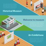 Museum Isometric Banners Set Stock Photography