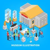 Museum Isometric Composition. With building oute, historical exposition, visitors adults and kids on blue background vector illustration Royalty Free Stock Image