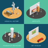 Museum Isometric 2x2 Compositions. Museum 2x2 compositions presenting different exhibitions prehistory medieval history artifacts and art isometric vector Royalty Free Stock Photos