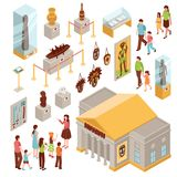 Museum Isometric Icons Set. Museum set of isometric icons with building outside, showcases with exposition, visitors at excursion isolated vector illustration Royalty Free Stock Images