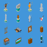 Museum Isometric Icons Set. With warriors and weapon, scroll, vase, sculpture on blue background isolated vector illustration Stock Images