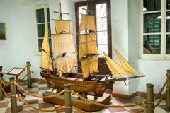Museum. KOTOR, MONTENEGRO - SEPTEMBER 10, 2015: Maritime Museum of Montenegro. The brigantine Aquila, the work of Tomo Djurdjevic (1883 Royalty Free Stock Photography