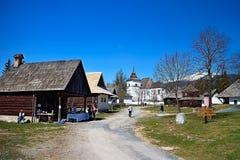 Museum of Liptov village in Pribylina, the youngest museum in nature in Slovakia. Museum of Liptov Village in Pribylina - all buildings together create a unique stock photo