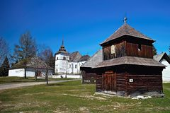 Museum of Liptov village in Pribylina, the youngest museum in nature in Slovakia. Attractive exposition of the Virgin Mary church from Liptovska Mara - Museum of stock photography