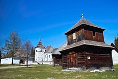 Museum of Liptov village in Pribylina, the youngest museum in nature in Slovakia. Attractive exposition of the Virgin Mary church from Liptovska Mara - Museum of stock photos