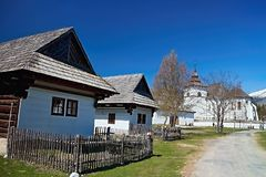 Museum of Liptov village in Pribylina, the youngest museum in nature in Slovakia. Attractive exposition of the Virgin Mary church from Liptovska Mara - Museum of stock image