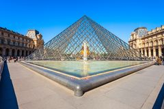 Museum of Louvre in Paris. PARIS, FRANCE - SEPTEMBER 12, 2018: Museum of Louvre and its pyramid in the centre of Paris, France stock photo