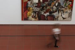 Museum Ludwig. Visitor passing by a painting at Museum Ludwig Stock Photo