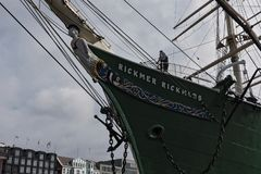 Museum and monument ship Rickmer Rickmers at the St Pauli Landungsbruecken, Hamburg, Germany.  stock photo
