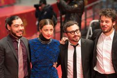 `Museum` Museo premiere during Berlinale 2018. Berlin, Germany - February 24, 2018: Bernardo Velasco, Ilse Salas, Alonso Ruizpalacios and Leonardo Ortizgris Royalty Free Stock Photography