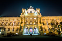 The Museum of Natural History at night, in Vienna, Austria. Stock Photos