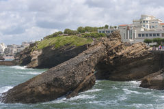 Museum of the Ocean on the rocks in the town of Biarritz (France Royalty Free Stock Image
