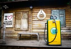 Museum Old gas station pumps. Vintage Fuel Dispenser, outdoor old petrol station in gas station,Thailand-loei-chaingkhan, december royalty free stock image