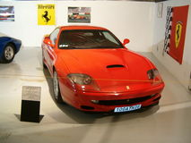 Museum of old sports cars,  red Ferrari  car. Stock Images