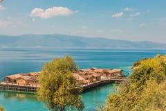 Museum på vatten - fjärden av benen - Ohrid, Makedonien royaltyfria bilder