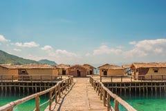 Museum på vatten - fjärden av benen - Ohrid, Makedonien royaltyfri fotografi