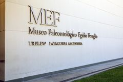 The Museum of Paleontology Egidio Feruglio in Trelew city, Patagonia, Argentina. Its permanent and travelling exhibitions focus on the fossil remains from stock image